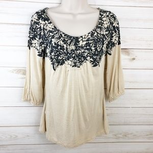 Anthropologie Deletta Scoop Neck Floral Blouse S